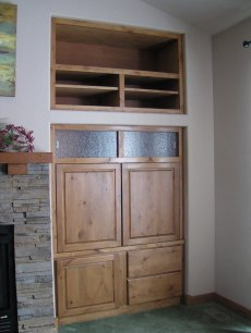 Full Built-in Entertainment Unit, pocket doors closed