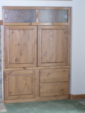 Bottom Section of Entertainment Unit, pocket doors closed