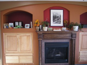 Maple built-in cabinet, left side of fireplace