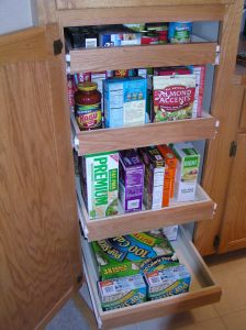 Kitchen Roll-Outs, sliding drawers make it easy to reach items at the back of cabinets or pantry