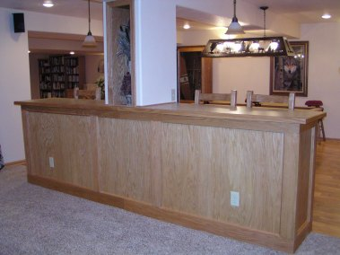 Oak bar room divider, custom design