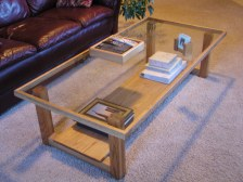 Oak and Glass Coffee Table, uniquely designed to provide a sleek, open, and contemporary look
